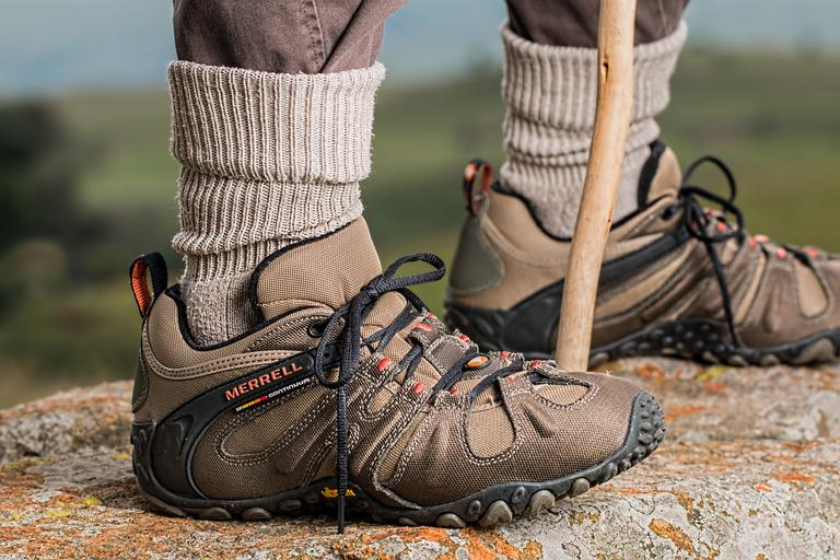 Wear a sturdy pair of hiking shoes.