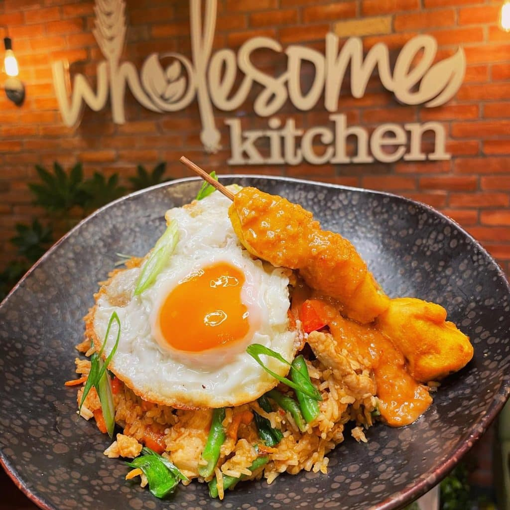 Grab a bite to eat at Wholesome Kitchen.