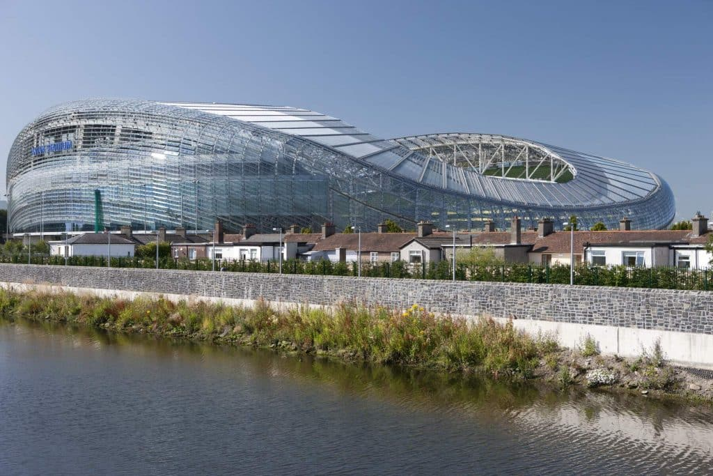 Aviva Stadium is a modern Dublin venue.
