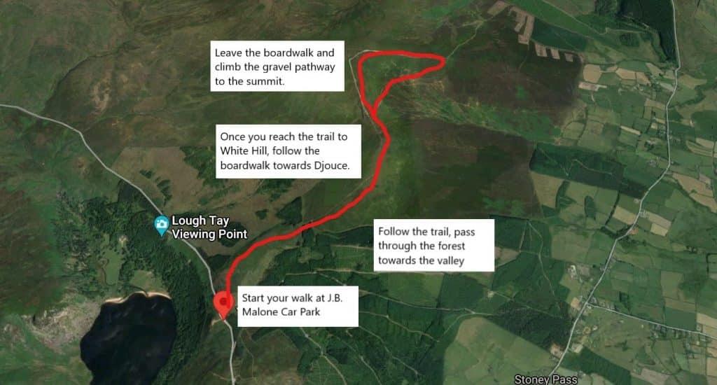 Djouce Mountain hike route.