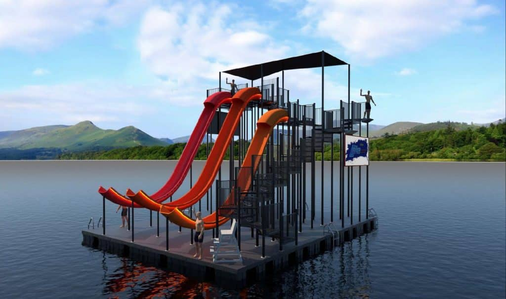 World's tallest floating waterslide opens in Northern Ireland.