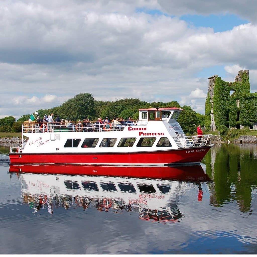 A boat tour on Lough Corrib is a relaxing experience.