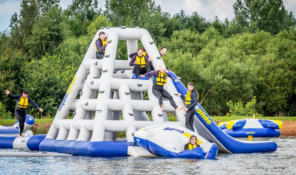 Test your wipeout skills on a number of obstacle courses.