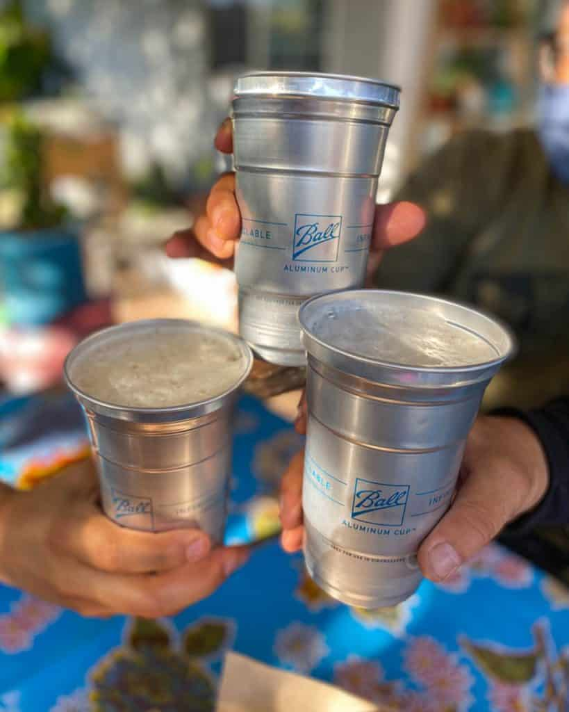 Aluminum cups will debut at the festival.