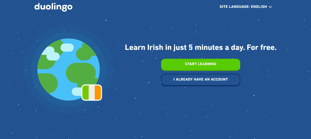 Duolingo is a staple of best places for learning Irish online.